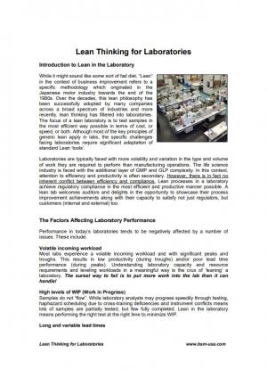 Lean Thinking for Laboratories